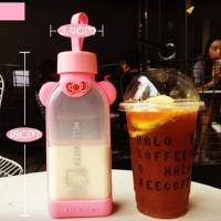 Botol Karakter Hello Kitty Tumbler Kaca Tempat Minum Tupperware Pink