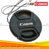 Lens Cap Tutup Penutup Lensa Kamera 67mm Logo Canon 18-135mm dll