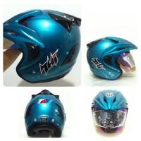 Helm Half Face Rocky Solid Blue Merk THI  / Helm SNI / Helm Murah DOT