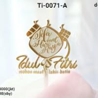 Jual Ti 0071 A Cake Topper Tulisan Hari Raya Idul Fitri Ketupat