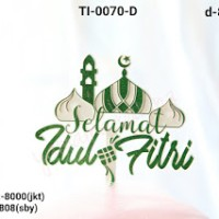 Jual Ti 0070 D Cake Topper Tulisan Selamat Idul Fitri Masjid Hijau