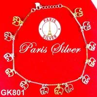 Gelang Kaki perak silver 925 Italy 3 warna lapis emas putih korea lucu