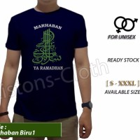 new kaos distro islami Marhaban ya ramadhan biru 1 baju muslim puasa