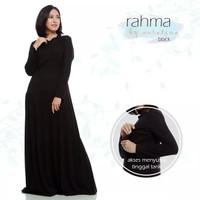 Rahma Hitam Gamis Menyusui Baju Manset Dalaman basic Long dress busui