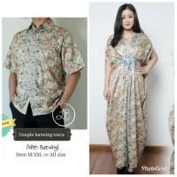Couple Dress Maxi Gamis Kaftan Jumbo Halwah dan Kemeja Batik Pria