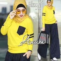 Setelan baju muslim atasan blouse kaos sweater celana kulot panjang