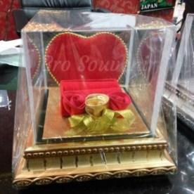 Tempat Mahar perhiasan pernikahan Cincin Kalung Love kayu murah lucu - Fuchsia
