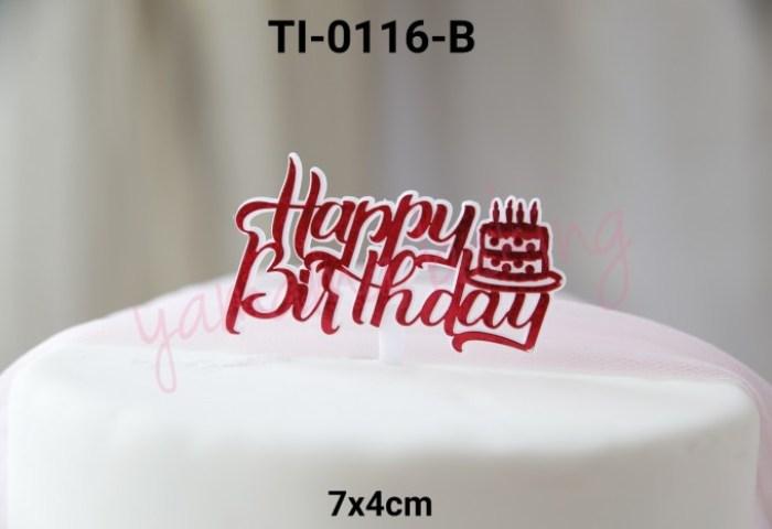 Jual Ti 0116 B Cake Topper Kue Tart Tulisan Happy Birthday Cake