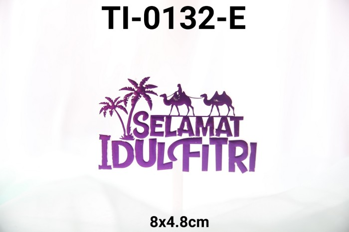 Jual Ti 0132 E Cake Topper Tulisan Idul Fitri Lebaran Ungu