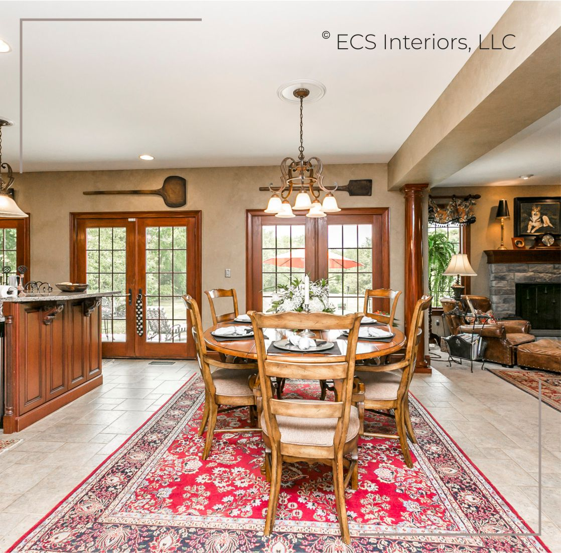 Custom Breakfast Nook Hand Knotted Persian Wool Rug Century Cherry Drop Leaf Table Fresh Floral ECS Interiors