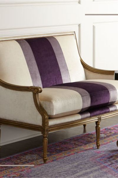 Lilah Violet Colorblock Settee Ivory and Puprle Stripe