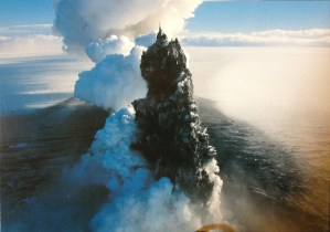 Postcard of a volcanic plume erupting out of the ocean