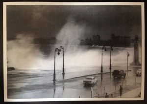 Postcard of huge waves breaking at the Maricon