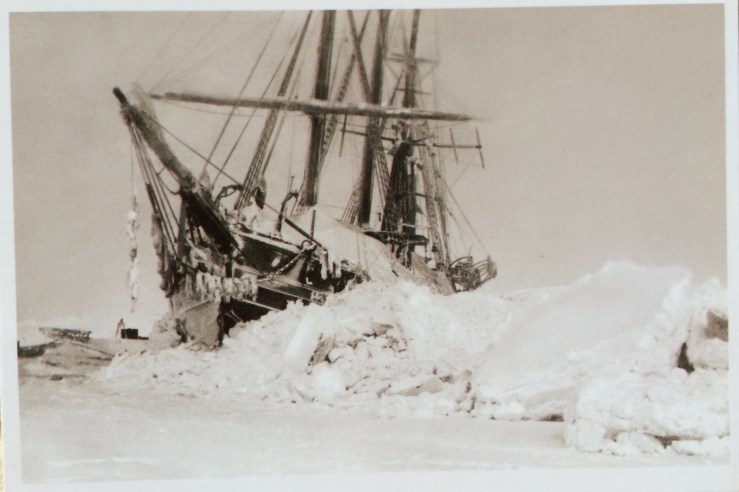 Postcard of the Fram stuck in ice