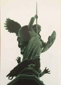 Postcard of sculpture of St. Michael slaying the dragon at Nidaros cathedral