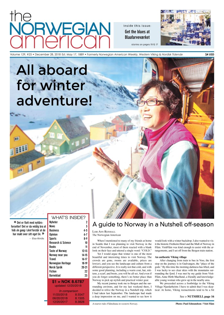 Cover of The Norwegian American from December 28, 2018