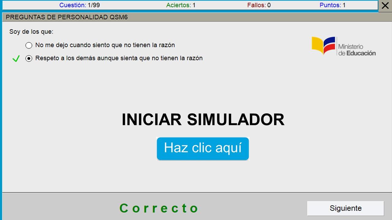 Simulador  Test   Cuestionario para pruebas Psicológicas, Psicométricas 2018