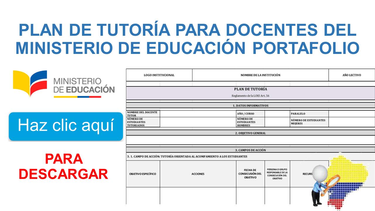Plan de tutoría para docentes del Ministerio de Educación PORTAFOLIO