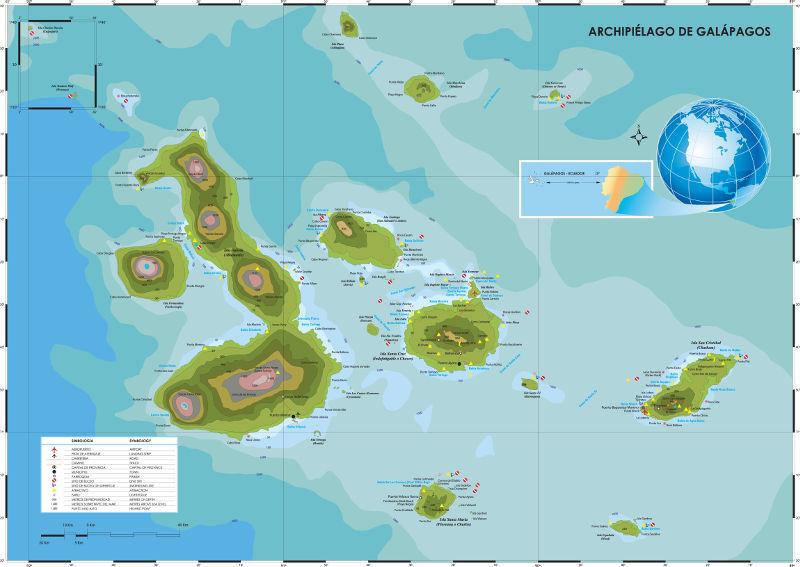 Mapa de Galápagos, 800px ancho.
