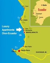 Beach of Olon Map - Ecuador Map