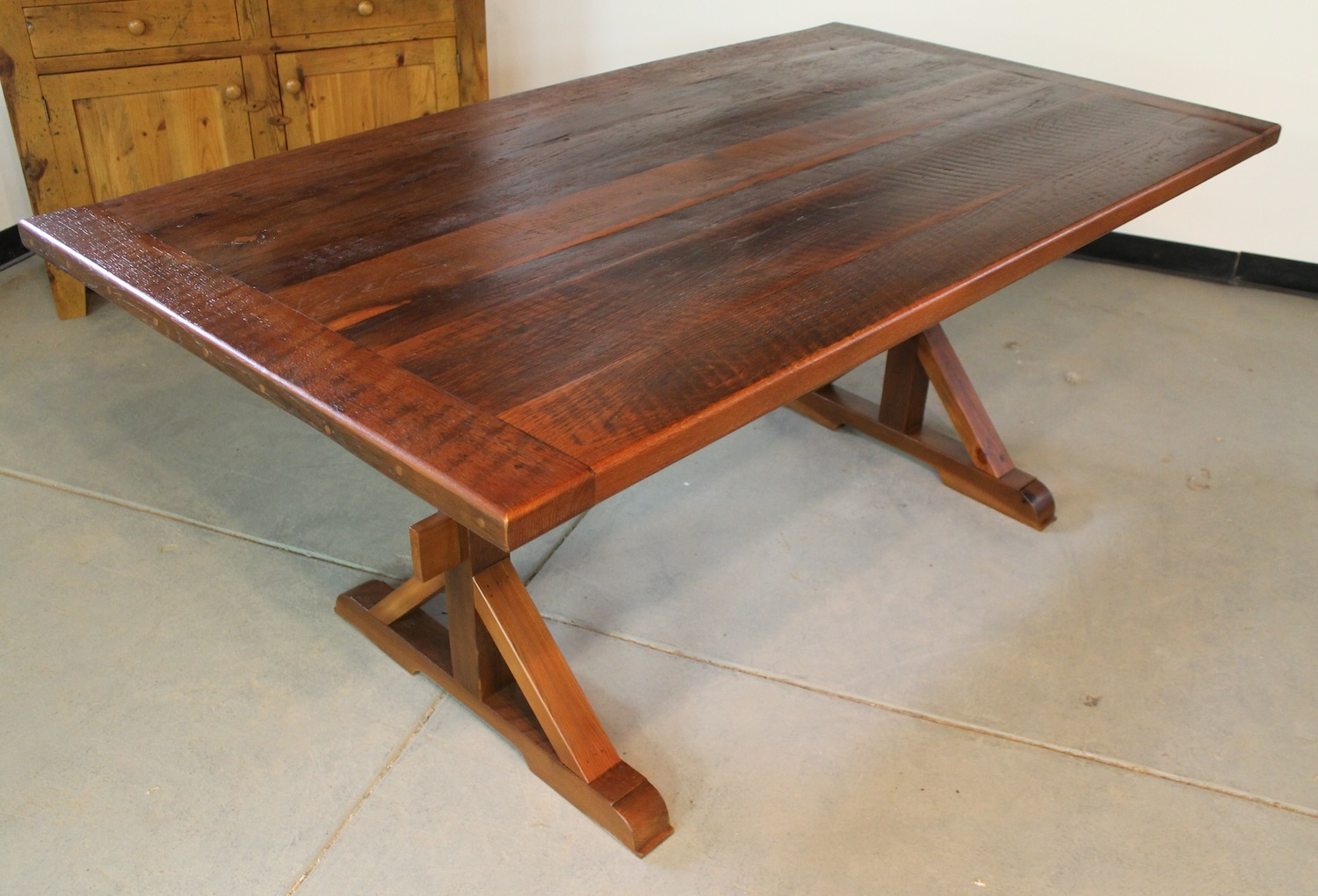 Very Rustic Trestle Table With 4in Bread Board Ends