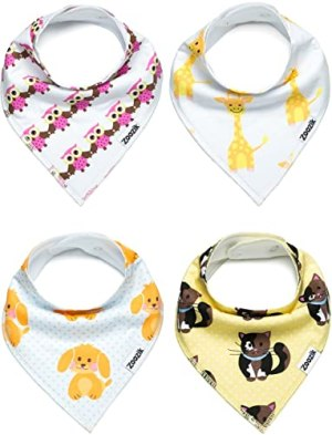 Baby Bandana Drool Bibs, Unisex 4-Pack Christmas Gift Set for Drooling and Teething Boys and Girls