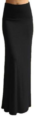 Azules-Womens-Banded-Maxi-Skirt-Small-Black
