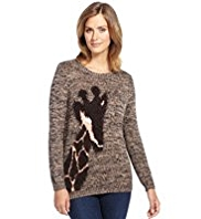 M&S Collection Cotton Rich Giraffe Twisted Knit Jumper