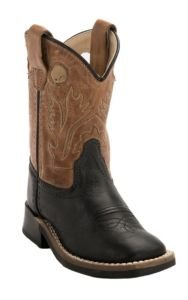 Old West Jama Toddler Black w/Tan Top Square Toe Western Boots