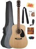 Fender Squier Acoustic Guitar Bundle with Gearlux Gig Bag, Austin Bazaar Instructional DVD, Clip-On Tuner, Extra Strings, Strap, Picks and Austin Bazaar Polishing Cloth - Natural