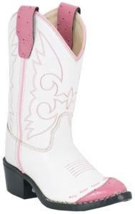 Old West White Youth Girls Corona Calf Leather Comfort Cowboy Boots 12.5 D