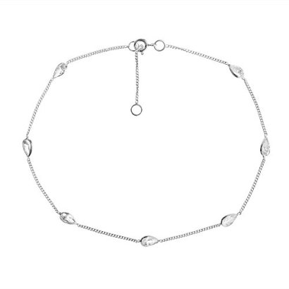 Classy-Teardrop-White-Cubic-Zirconia-Link-925-Sterling-Silver-Anklet