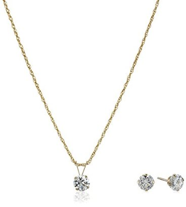 10k-Gold-Swarovski-Pendant-Necklace-and-Earrings-Jewelry-Set