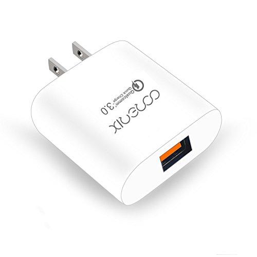 Quick Charge 3.0 Corerix 18W 小型 Quick Charge 3.0 USB AC充電器 チャージャー 1ポートUSB急速充電器 Xperia x Performance Galaxy S7 Edge LG G5 Galaxy S6  Edge Plus Note 5  4 LG G4 Nexus 6など対応 急速充電ケーブル付き(ホワイト)