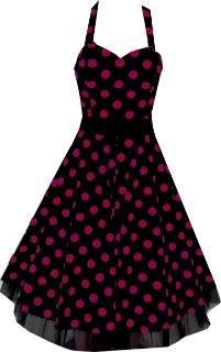 Pretty Kitty Fashion 50s Groß Lila Polka Dot Schwarz Weiß Neckholder Cocktail Kleid