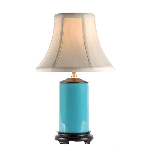 Small Turquoise Blue Porcelain Accent Table Lamp New