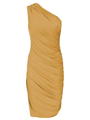 FourFlavor Asymmetrisches Abendkleid mustard (S/M)