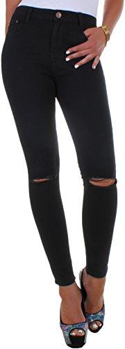 BD Damen Hight Waist Jeans Hose Röhrenjeans mit Riss am Knie in schwarz, weiß oder blau auch in Übergröße bis Gr. 52