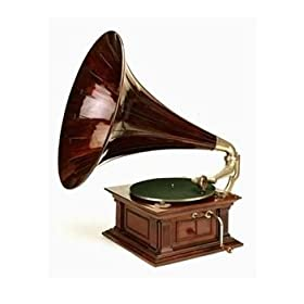 An His Master's Voice Monarch Gramophone, with Oak Case and Fluted Oak Horn, circa 1911 Fine Art Giclee Poster Print, 30x40