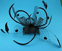 Black Gothic Net Feather Bow Forties Fifties Hair Slide Comb Fascinator