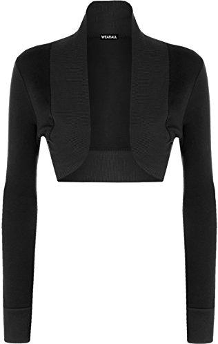 WearAll – Damen langarm Bolero Top – 13 Farben – Größe 36-42