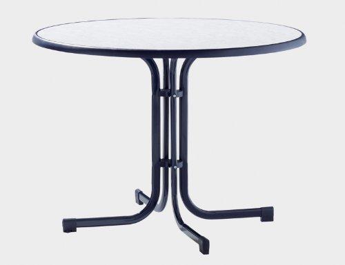 Sieger Gartentisch Stahlrohrgestell blau, Mecalit-Pro-Platte