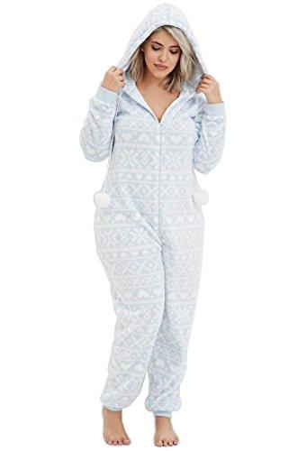 Women's Blue Fair Isle Jumpsuit Pj Onesies, winter pajamas, flannel jammies, warm winter pjs