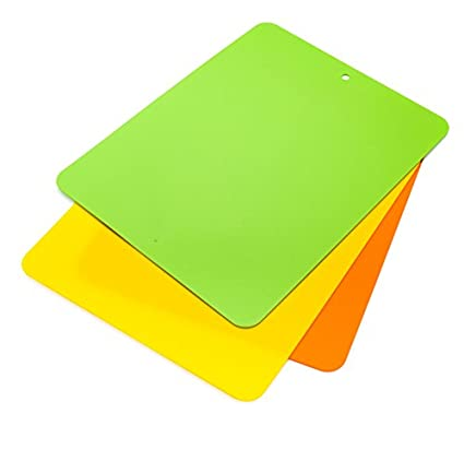 "Francois et Mimi Set of 3x Colorful Flexible Bendy Food-Safe Cutting Mat Board, 15""x12"""