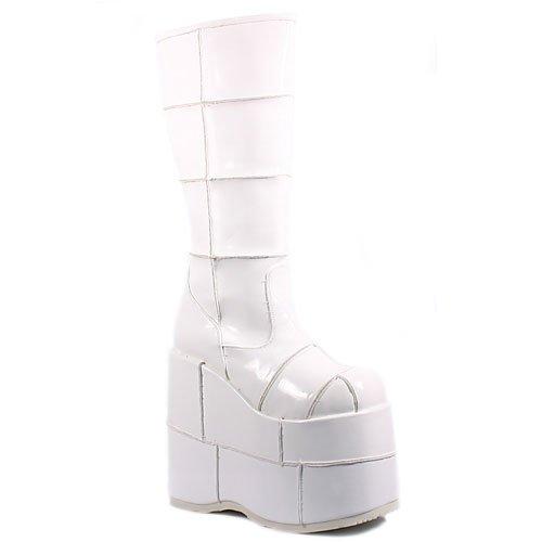Stack-301 Platform Boot,White Patent,7
