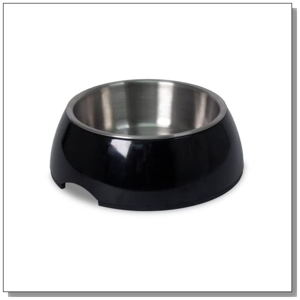 Petmate Pet Bowl with Stainless Steel Eating Surface, Small, Black
