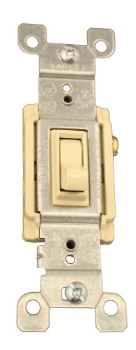 Leviton 1453-2I 15 Amp, 120 Volt, Toggle Framed 3-Way AC Quiet Switch, Residential Grade, Grounding, Quickwire Push-In & Side Wired, Ivory