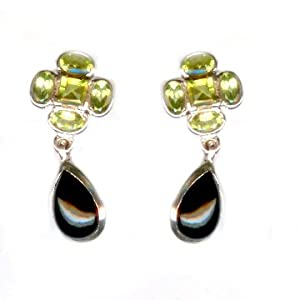 Real Forest Green Peridot and Black Onyx Gemstone Earrings 9g 925 Sterling Silver