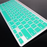 Topcase Aqua Blue Silicone Cover Skin for Apple Wireless Keyboard with Topcase Mouse Pad