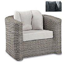 Best Lounge Sessel St. Tropez inkl. Auflagen in Jaquardgewebe grau mit Rankenmuster